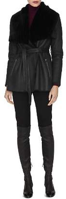 LK Bennett L.K.Bennett Amberly Leather & Real Sheep Shearling Coat