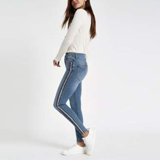 River Island Womens Mid blue Harper sequin detail skinny jeans