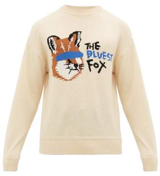 MAISON KITSUNÉ Ader Error X Ader Error X Fox Intarsia Wool Sweater - Mens - Cream
