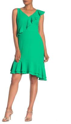 Maggy London Ruffled V-Neck High/Low Dress