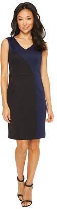 Ellen Tracy Color Block Dress with V-Neck Women's Dress
