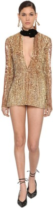 ATTICO The Sequined Mini Dress W/ Velvet Collar