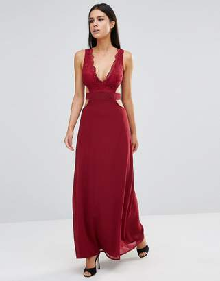 Club L Lace Maxi Dress With Cut Out Detail