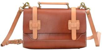 EAZO - Contrast Leather Straps Satchel Bag In Brown