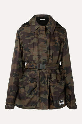 Miu Miu Hooded Padded Camouflage-print Canvas Jacket - Army green