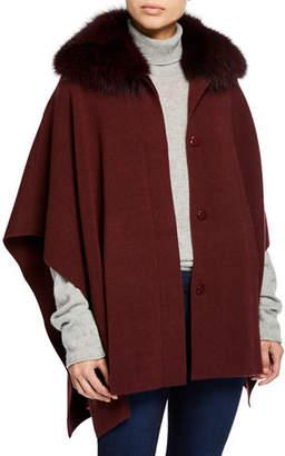 Sofia Cashmere Button-Front Cashmere Cape w/ Fur Collar