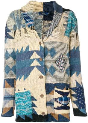 Polo Ralph Lauren colour-block embroidered cardigan