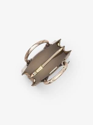 MICHAEL Michael Kors Mercer Metallic Snake-Embossed Leather Crossbody
