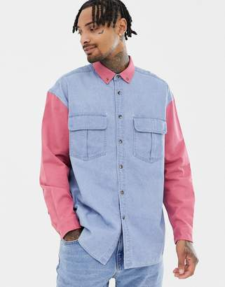 Asos DESIGN oversized denim shirt with contrast sleeves and collar