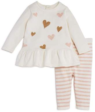 Bloomingdale's Bloomie's Girls' Heart Sweater Tunic & Striped Knit Leggings Set, Baby - 100% Exclusive