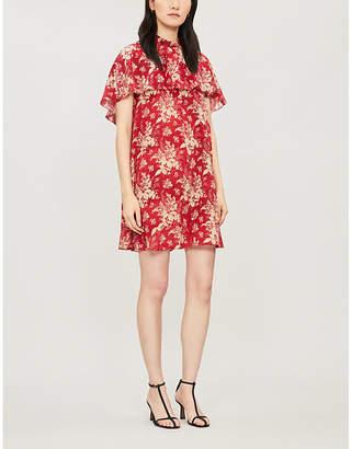 RED Valentino High-neck layered floral-print silk mini dress