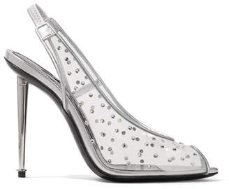 Tom Ford Embellished Pvc And Metallic Leather Slingback Pumps - Silver