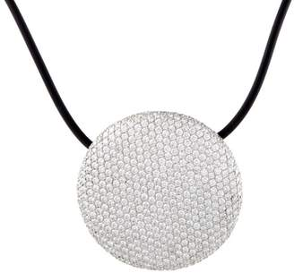 Vhernier 18K White Gold Diamond Pave Black Cord Necklace