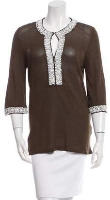 Valentino Knit Embellished-Trim Top