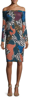Y-yigal YYIGAL Yigal Azrouel Printed Off-The-Shoulder Dress