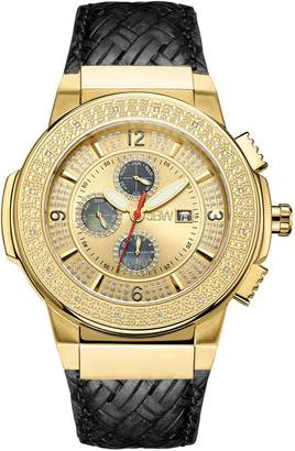 JBW Men's JB-6101L-D Saxon Gold Braided Leather Diamond Watch