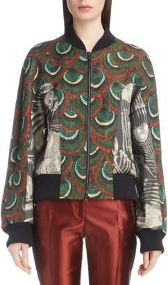 Dries Van Noten Peacock & Metallic Bomber Jacket