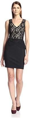 Society New York Women's Sleeveless Peplum Lace Dress