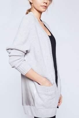 Amanda Wakeley Larson Grey Cashmere & Satin Boyfriend Cardigan