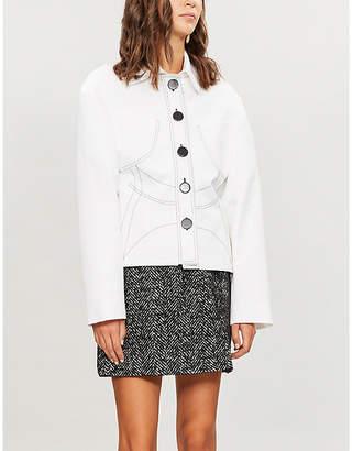 Miu Miu Herringbone-patterned wool-blend skirt