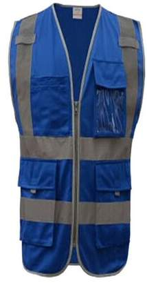 Gogo GOGO 8 Pockets High Visibility Zipper Front Safety Vest With Reflective Strips, Meets ANSI Standards-Blue-XXL