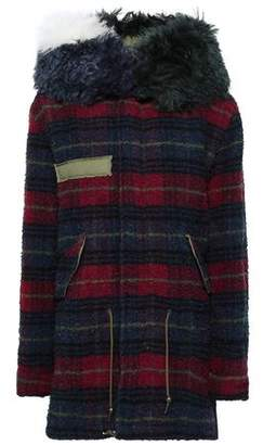 Mr & Mrs Italy Shearling-Trimmed Checked Wool Hooded Coat