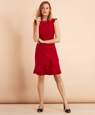 Brooks Brothers Ruffled Stretch-Wool-Blend Dress