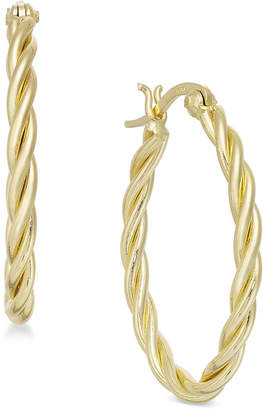Essentials Small Silver Plated Twisted Hoop Earrings