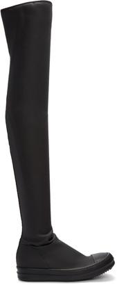 Rick Owens Drkshdw Black High Sock Boots $760 thestylecure.com