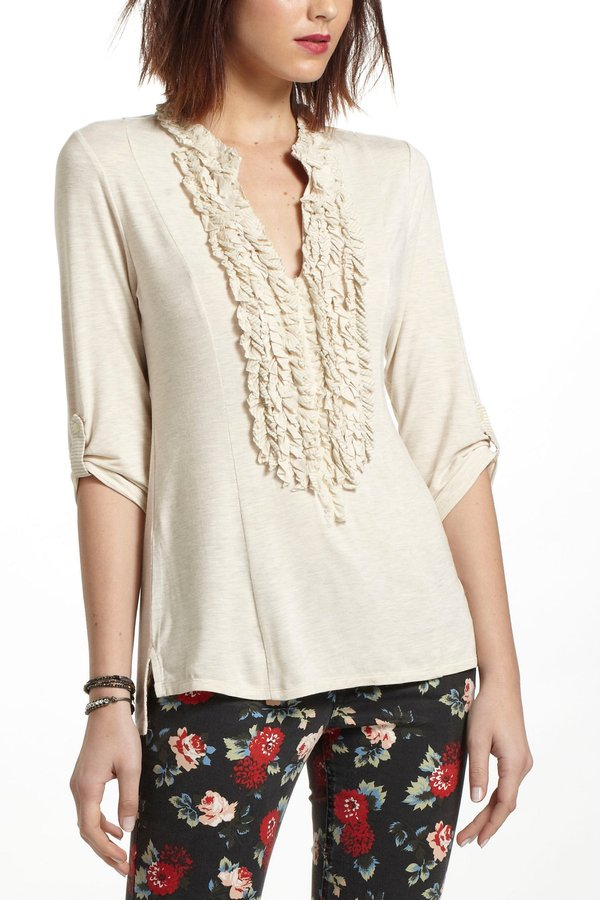 Anthropologie Ruffled Jersey Pullover