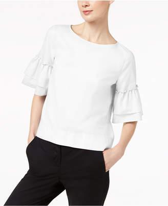 Marella Cotton Oxford Ruffled Button-Back Top