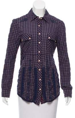 3J Workshop by Johnny Was Embroidered Gingham Print Button-Up