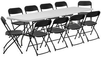 "Flash Furniture Bi-Fold Plastic Event/Training 96"" Rectangular Folding Table Set with 10 Chairs Flash Furniture"