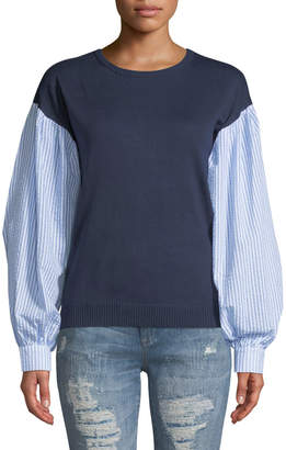 ENGLISH FACTORY Shirred Sleeve Combo Sweater Top