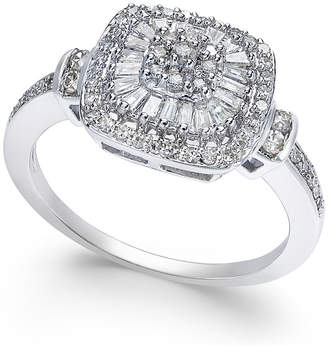 Macy's Diamond Vintage-Inspired Ring (1/2 ct. t.w.) in 14k White Gold, Yellow Gold and Rose Gold.