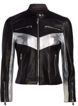 Chevron Collar Metallic Contrast Leather Jacket
