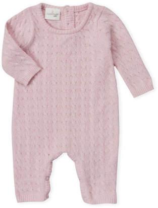 Cuddl Duds Newborn Girls) Pink Cable Knit Romper