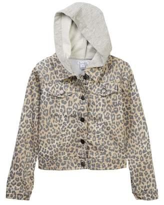 Love, Fire Leopard Two-Fer Denim Jacket (Big Girls)