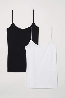 H&M 2-pack Jersey Tank Tops - Black