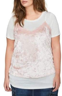 Addition Elle Love And Legend Plus 2-in-1 Roundneck Tee and Lace-Trimmed Velvet Camisole