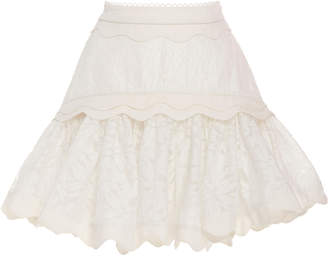 Acler Montana Scalloped Lace Mini Skirt Size: 2
