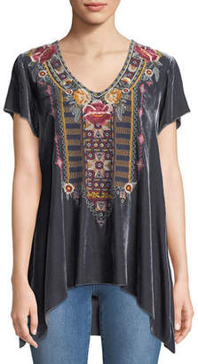 Johnny Was Cherelle Embroidered Velvet Tunic, Plus Size