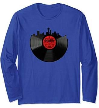 Seattle Washington Skyline Vinyl Record Long Sleeve Shirt