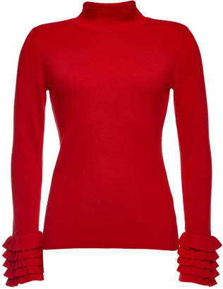 Steffen Schraut Turtleneck Pullover with Ruffled Cuffs