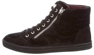 Chanel Velvet CC High-Top Sneakers