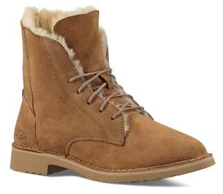 UGG Quincy Leather and Sheepskin Lace Up Booties