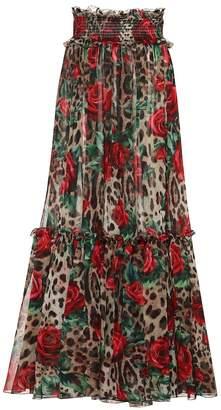 Dolce & Gabbana Leopard floral silk skirt pants