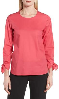BOSS Isolema Stretch Cotton Bow Sleeve Top