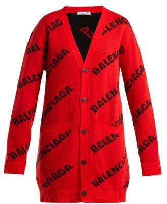 Balenciaga Logo Jacquard Virgin Wool Blend Cardigan - Womens - Red