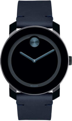 Movado Bold Men's Bold TR90 Two-Hand Watch with Blue Leather Strap
